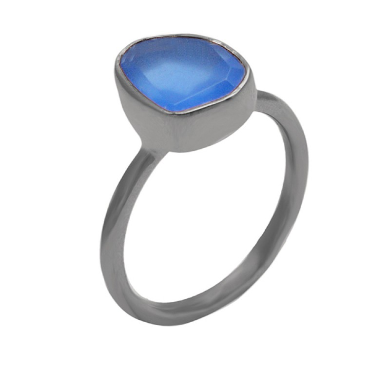 Blue Chalcedony Oval Shape Gemstone 925 Sterling Silver Gold Plated Ring Jewelry