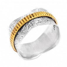 925 Sterling Silver Plain Handmade Gold Plated Spinner Ring Jewelry