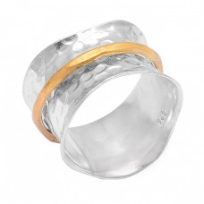 Unique Plain Hammered Designer 925 Sterling Silver Gold Plated Ring