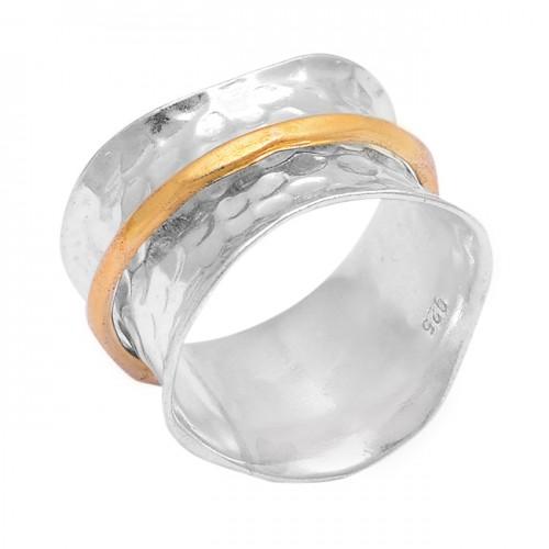 Unique Plain Hammered Designer 925 Sterling Silver Gold Plated Ring