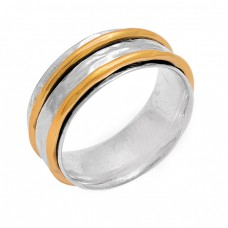 New Stylish Handcrafted Designer 925 Sterling Silver Gold Plated Ring