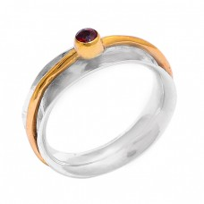 Round Shape Garnet Gemstone 925 Sterling Silver Gold Plated Ring Jewelry