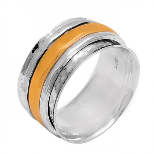 925 Sterling Silver Plain Hammered Designer Gold Plated Ring Jewelry