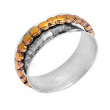 925 Sterling Silver Plain Stylish Designer Gold Plated Spinner Ring Jewelry