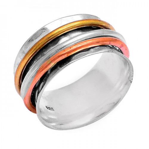 Fashionable Plain Designer 925 Sterling Silver Gold Plated Ring Jewelry