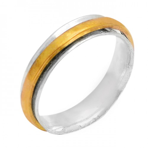 New Plain Designer 925 Sterling Silver Gold Plated Ring Jewelry