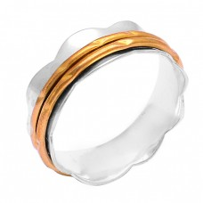 Plain Handmade Designer 925 Sterling Silver Gold Plated Ring Jewelry