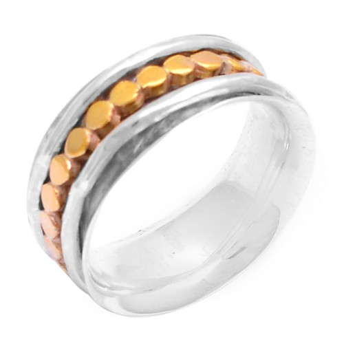 925 Sterling Solid Silver Plain Designer Gold Plated Ring Jewelry