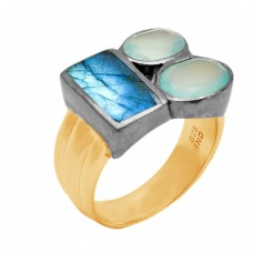 Labradorite Aqua Chalcedony Gemstone 925 Sterling Silver Gold Plated Jewelry Ring