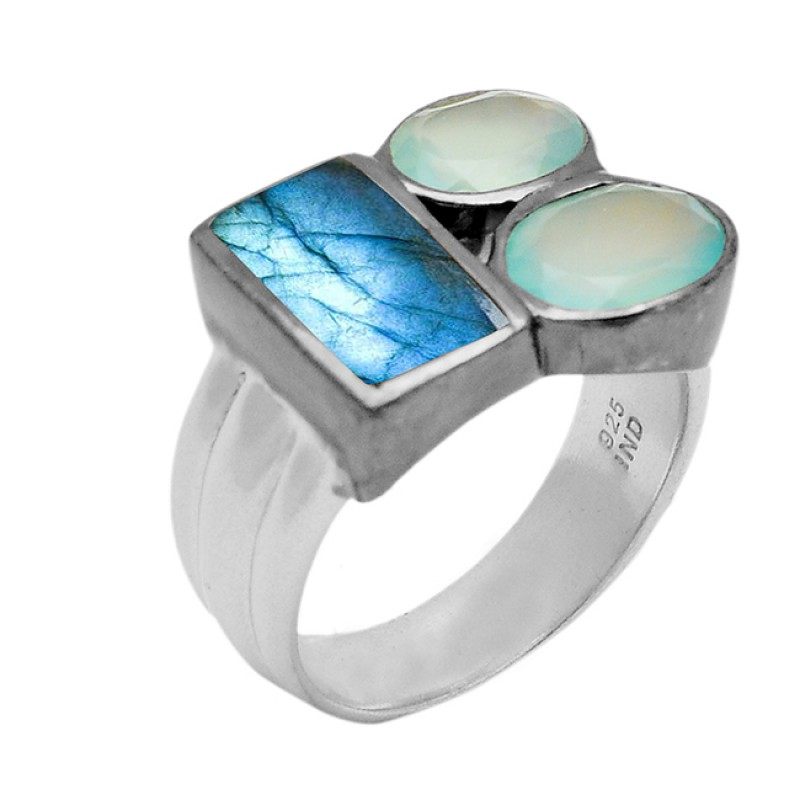 Labradorite Aqua Chalcedony Gemstone 925 Sterling Silver Gold Plated Jewelry Ring