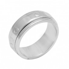 925 Sterling Solid Silver Plain Designer Gold Plated Spinner Ring Jewelry