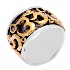 "Handmade ""OM"" Plain Designer 925 Sterling Silver Gold Plated Ring Jewelry"