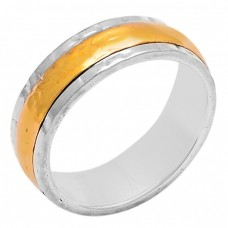 New Stylish Plain Designer 925 Sterling Silver Gold Plated Ring Jewelry
