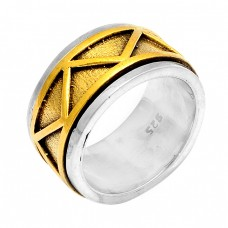 Stylish Plain Designer 925 Sterling Silver Gold Plated Ring Jewellery