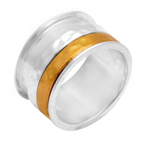 Attractive Plain Designer 925 Sterling Solid Silver Gold Plated Spinner Ring