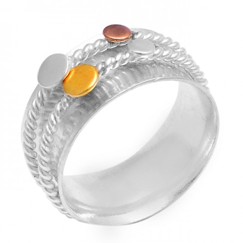 925 Sterling Solid Silver Plain Designer Gold Plated Spinner Ring Jewellery