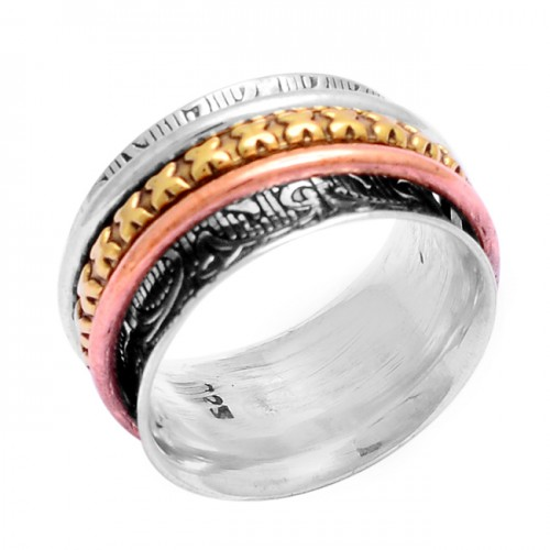 925 Sterling Solid Silver Plain Designer Gold Plated Ring Jewellery