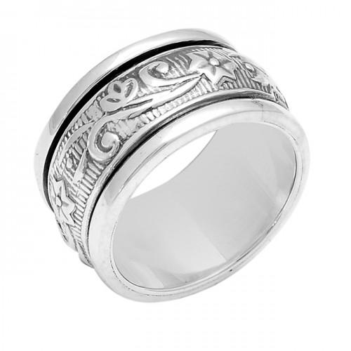 Vintage Look Plain Designer 925 Sterlig Solid Silver Ring Jewellery