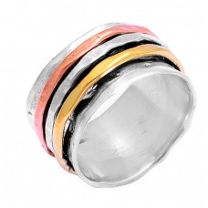 Plain Designer 925 Sterling Solid Silver Gold Plated Spinner Ring Jewellery