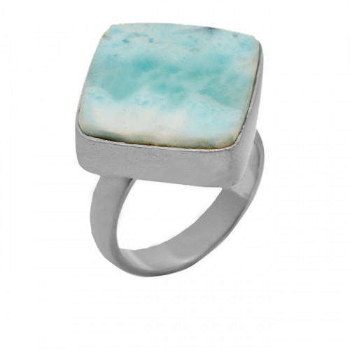 Cushion Shape Larimar Gemstone 925 Sterling Silver Gold Plated Ring Jewelry