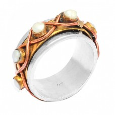 Round Shape Pearl Gemstone 925 Sterling Silver Gold Plated Ring Jewellery