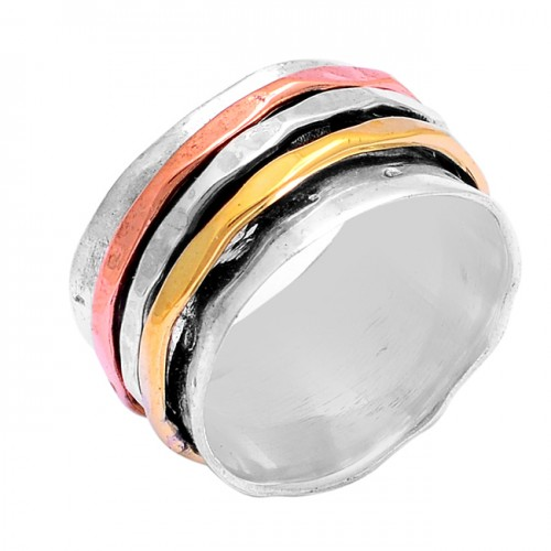 New Latest Plain Designer 925 Sterling Silver Gold Plated Spinner Ring Jewelry