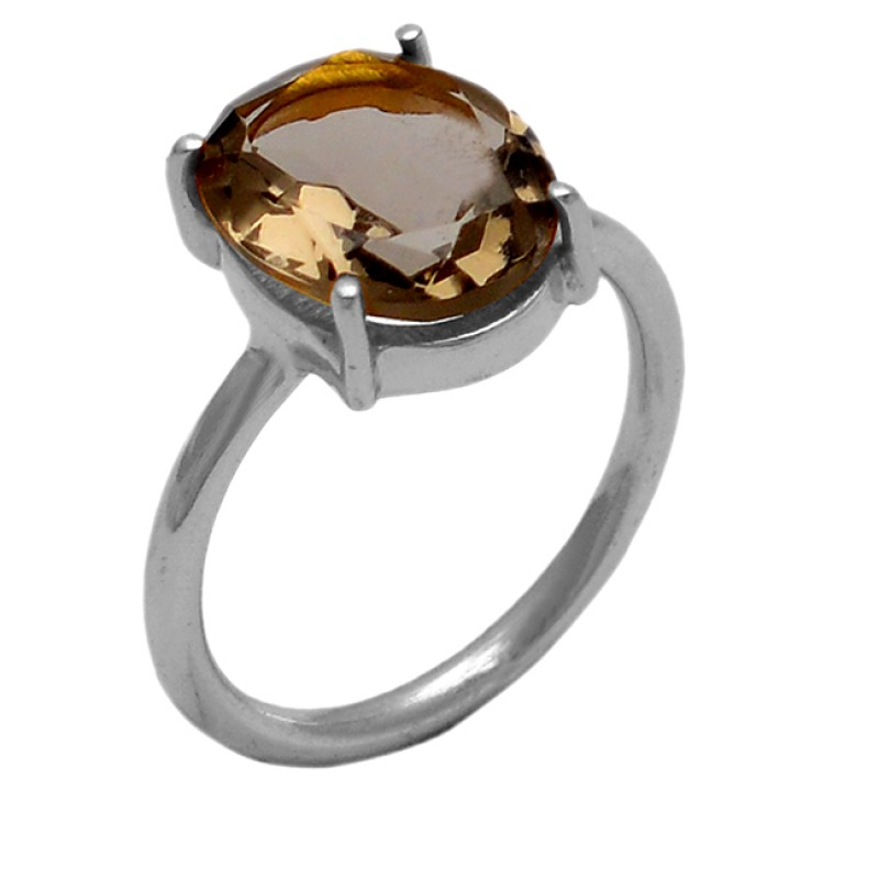 Oval Shape Smoky Quartz Gemstone 925 Sterling Silver Gold Plated Ring Jewelry