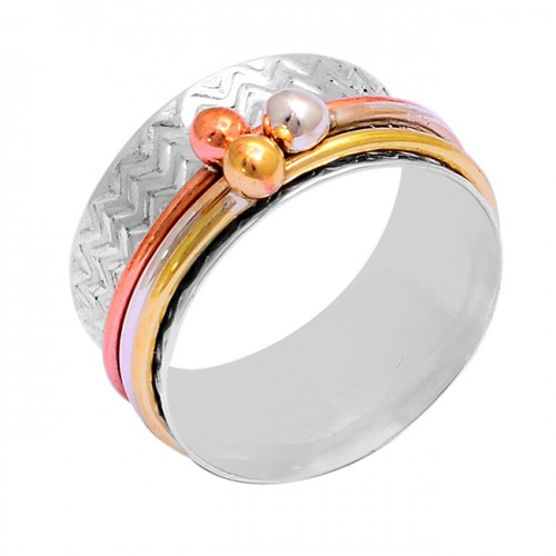 925 Sterling Silver Plain Designer Gold Plated Unique Spinner Ring Jewelry