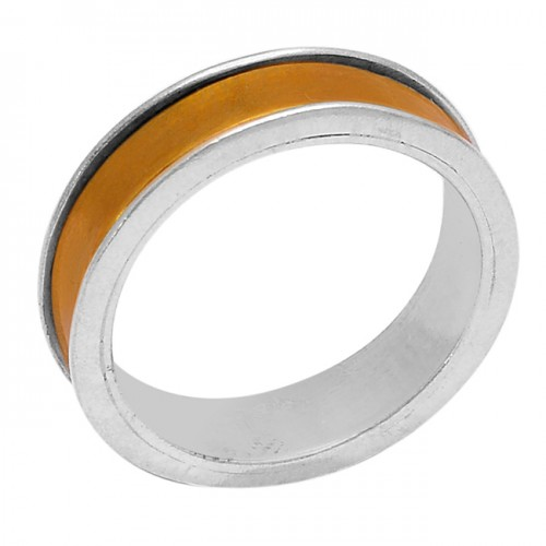 925 Sterling Silver Plain Designer Gold Plated Ring Jewellery