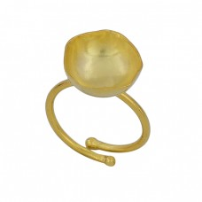 925 Sterling Solid Silver Plain Handmade Designer Gold Plated Ring Jewelry