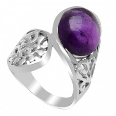 Designer Oval Cabochon Amethyst Gemstone 925 Sterling Silver Ring Jewelry