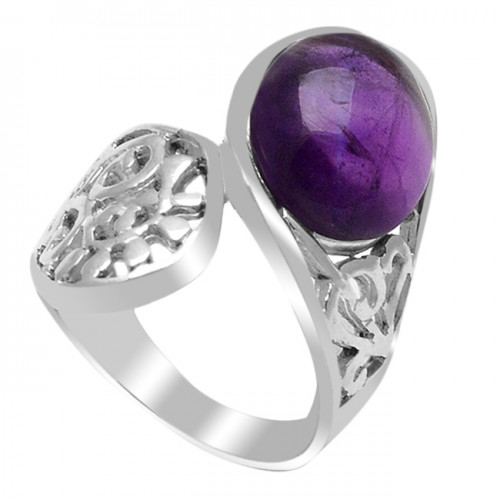 Designer Oval Cabochon Amethyst Gemstone 925 Sterling Silver Ring Jewelry