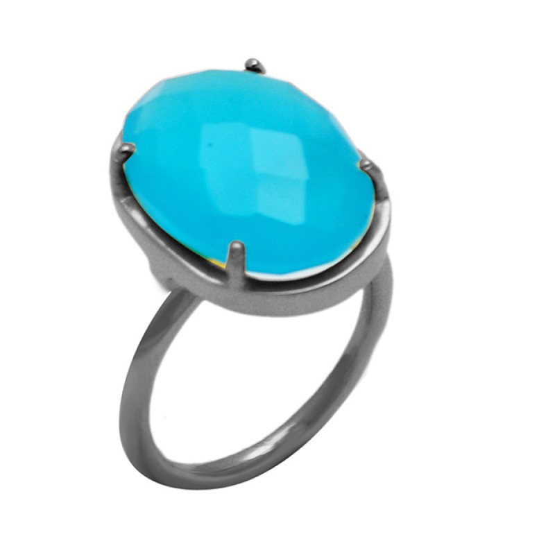 Oval Shape Blue Chalcedony Gemstone 925 Sterling Silver Gold Plated Prong Setting Ring