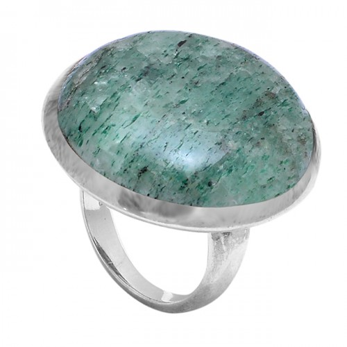Round Shape Moss Agate 925 Sterling Solid Silver Ring Jewellery