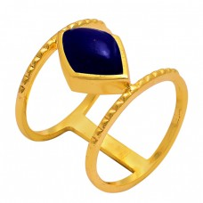 Marquise Shape Lapis Gemstone 925 Sterling Silver Gold Plated Ring Jewellery