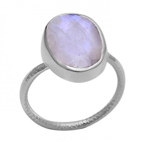 Oval Shape Rainbow Moonstone 925 Sterling Solid Silver Ring Jewelry
