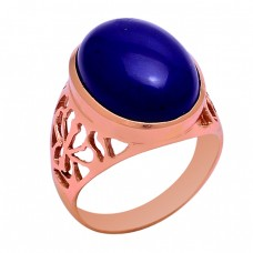 Cabochon Oval Shape Lapis Lazuli Gemstone 925 Sterling Solid Silver Ring