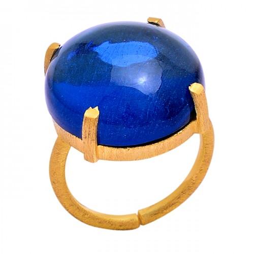 Cabochon Round Shape Tanzanite Quartz Gemstone 925 Silver Ring