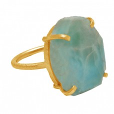 Fancy Shape Larimar Gemstone 925 Sterling Silver Gold Plated Prong Setting Ring