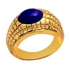 Oval Shape Lapis Lazuli Gemstone 925 Sterling Silver Gold Plated Ring jewelry