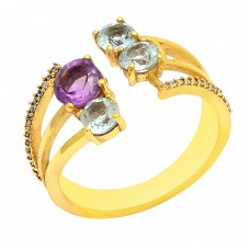 Amethyst Blue Topaz Gemstone 925 Sterling Silver Gold Plated Ring Jewellery