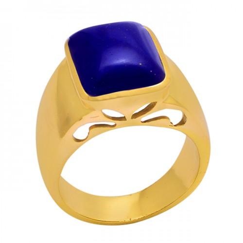 Cabochon Rectangle Shape Lapis Lazuli Gemstone 925 Silver Ring Jewelry