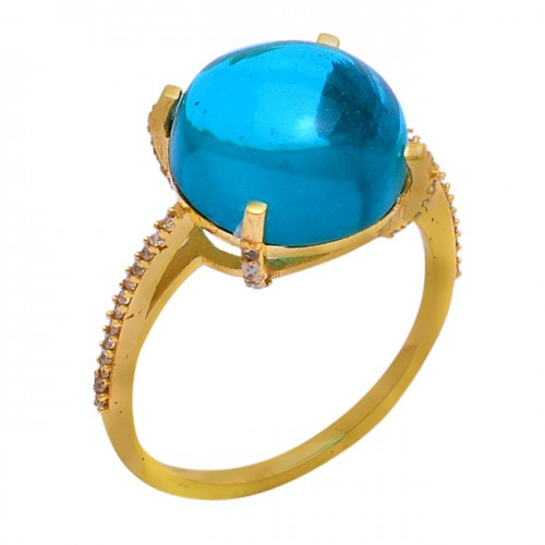 Round Shape Tanzanite Quartz Cz Gemstone 925 Sterling Silver Ring Jewelry