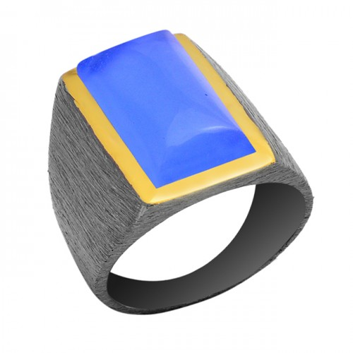 Rectangle Shape Blue Chalcedony Gemstone 925 Sterling Silver Ring Jewelry