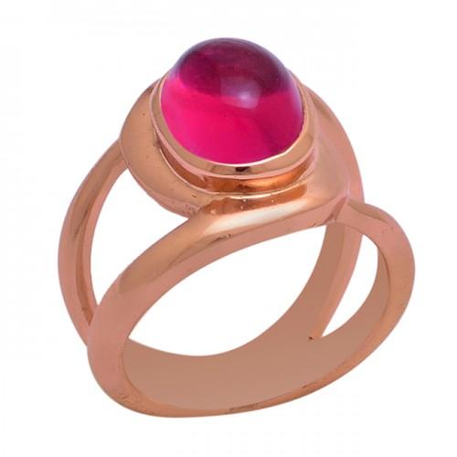 Cabochon Oval Shape Pink Tourmaline Quartz Gemstonen 925 Silver Ring