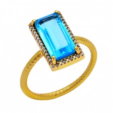 Tanzanite Quartz Cz Gemstone 925 Sterling Silver Gold Plated Cocktail Ring