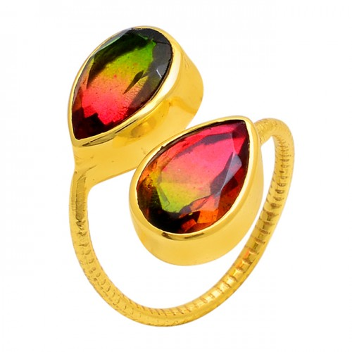 Tourmaline Doublet Quartz Gemstone 925 Sterling Silver Gold Plated Ring