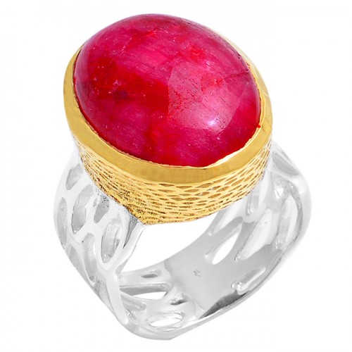 Cabochon Oval Shape Ruby Gemstone 925 Sterling Silver Gold Plated Ring