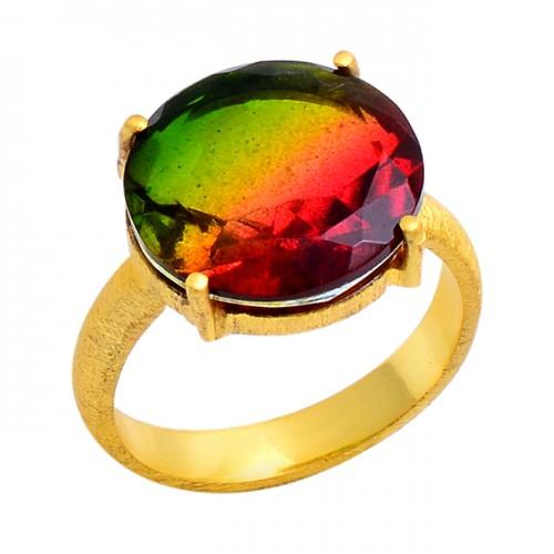 Round Shape Tourmaline Doublet Quartz Gemstone 925 Sterling Silver Ring