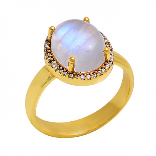 Rainbow Moonstone Cz 925 Sterling Silver Gold Plated Cocktail Ring Jewelry